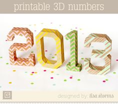 Free printable 3D paper numbers for New Year's Eve