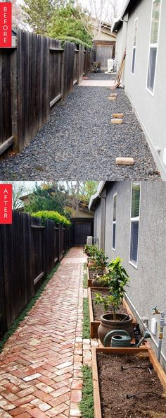 Before & After: A Side Yard Goes from Barren to Bountiful If you live in a typical suburban house, chances are good you have a side yard — a barren little strip of land between the side of the house and the fence covered in grass or rocks and probably n Front Yard Landscaping, Backyard Patio, Landscaping Ideas, Landscaping Software, Steep Backyard, Pavers Ideas, Landscaping Melbourne, Backyard Layout, Privacy Landscaping