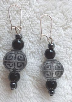 Black and gray beaded dangle earrings. by MysticalGypsies on Etsy, $7.00