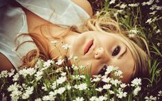 blondes women flowers models faces