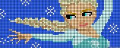 Elsa Frozen perler bead pattern (I love this pattern so much❄️⛄️) Hama Beads Design, Hama Beads Patterns, Beading Patterns, Bracelet Patterns, Beaded Cross Stitch, Cross Stitch Patterns, Pixel Art, Frozen Cross Stitch, Perler Bead Templates