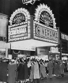 Lined up at the Warner theatre in downtown PIttsburgh during the 1950s