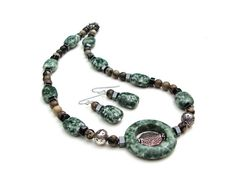 Green and white speckled stone choker necklace set - green jasper, brown & black gemstone tribal, earthy necklace - by Sparkle City Jewelry