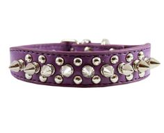 Purple Leather Spiked Studded Dog Collar