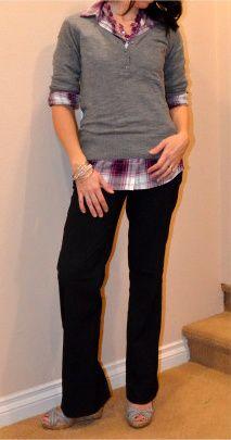 purple plaid! I have this plaid shirt....redoing this for tomorrow