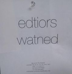 Desperately Seeking Editors