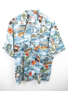 Hilo Hattie Men's Blue Green Hawaiian Aloha Island Camp Short Slv Shirt SIZE XL #HiloHattie #Hawaiian