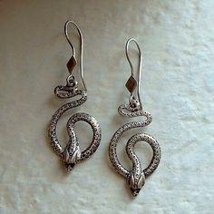 Vintage STERLING Silver SNAKE Earrings DANGLES Stampings Hallmarked Pierced Ears…