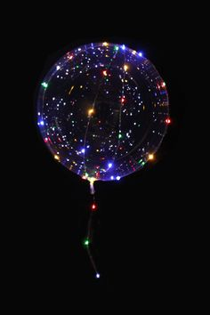 Clear Balloon with Multi-Color LED String Lights — Paper Luxe Quince Gifts, Clear Balloons, Glitter Balloons, Deco Led, Sky Lanterns, Denim And Diamonds, Umbrella Wedding, Light Decorations, Balloon Decorations