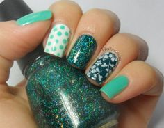 pinky and thumb: Rimmel London Misty Jade  ring: Nails Inc Electric Teal, BM221, Konad Special Nail Polish in White  middle: one coat of Nails Inc Electric Teal, two coats of China Glaze Atlantis  index: OPI Alpine Snow, Rimmel London Misty Jade, dotting tool
