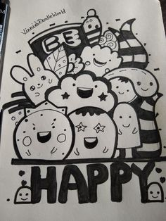 Be Happy Doodle Doodle for beginners Doodle Art Beginners Doodle doodle art for beginners Happy Doodle Art Letters, Cute Doodle Art, Doodle Art Designs, Doodle Art Drawing, Book Drawing, Doodle Patterns, Doodle Doodle, Cute Monsters Drawings, Bff Drawings