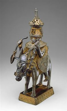 Africa | Bronze Horse and Rider sculpture from the early 17th century