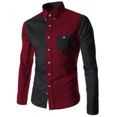 Turn-Down Collar Color Block Spliced Long Sleeve Pocket Button-Down Men's Shirt