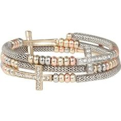 Heirloom Finds Crystal Sideways Cross Wrap Bracelet of Gold Tone Mesh with Tri Color Beads