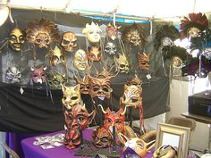Goblin Art booth at Mardi Gras mask market, 2006 by goblinart, via Flickr - She does beautiful work in a wide range of media!