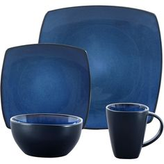 Gibson Bella Soho 16-Piece Square Reactive Glaze Dinnerware Set, Blue ❤ liked on Polyvore featuring home, kitchen & dining, dinnerware, blue square dinnerware sets, soho dinnerware, blue dinnerware sets, reactive glaze dinnerware and square dishware sets