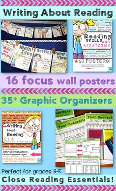 Encourage CLOSE READING with these student friendly focus wall posters and graphic organizers! Great for grades 3-5!
