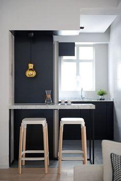 HOO | 'Josie' apartment renovation, Mid-Levels, Hong Kong, 779 sq ft; kitchen nook, black, white, gold pendant