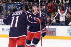 Matt Calvert and Ryan Johansen celebrate a goal against the Edmonton Oilers. #CBJ #Hockey