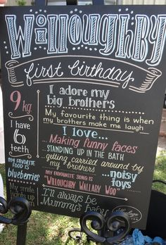 1st birthday sign for Willoughby - by Moulage Collection