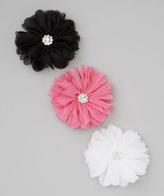 Take a look at this Black & Hot Pink Blossom Clip Set on zulily today!