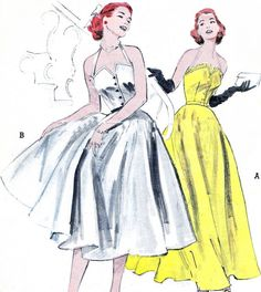Vintage 1950s Butterick 6001 view A floor length, bare top formal, lace or eyelet trimming, the decolletage makes as lovely a formal as youll