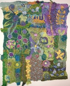 Secret Garden - hand-embroidered and hand-quilted nuno felting