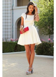 2014 Ivory Bateau A Line Short/Mini Open Back Satin Cocktail Dress With Short Sleeves