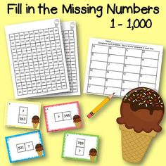 Fill in the Missing Numbers 1-1,000 Are your students struggling with recognizing what comes before, after, above, or below with larger numbers? Here is a product that is great for a center or for small group instruction!