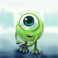 Monster University : Mike by Sa-Dui Kawaii Disney, Baby Disney, Disney Art, Disney Junior, Disney Pixar, Cute Disney Wallpaper, Wallpaper Iphone Cute, Cute Cartoon Wallpapers, Cute Disney Drawings