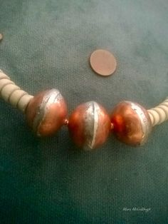 Handmade copper beads and vintage ceramic thermic bosnian beads