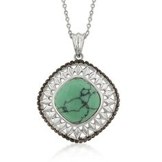 J. Goodin Two-Tone Diamond CZ Head Pendant, J. Goodin. $82.00. Pendant. Lead Free Alloy (Brass). Silvertone & Green