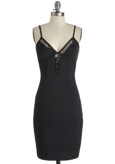 Swathed in Suave Dress - Mid-length, Black, Solid, Party, Spaghetti Straps, Cutout, Lace, Bodycon / Bandage, Girls Night Out, Prom, Pinup
