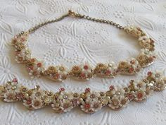 GORGEOUS Gold-Tone White Plastic Floral Rhinestone Necklace and bracelet- Signed Art by Lavendergems on Etsy