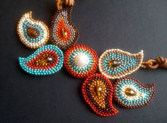 Treasure of Thailand Necklace, brick stitch beading