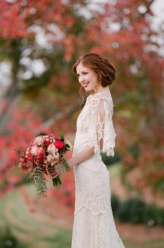 Claire Pettibone Wedding Gown - Fall Wedding Photo Shoot on Style Me Pretty! Jen Fariello Photography