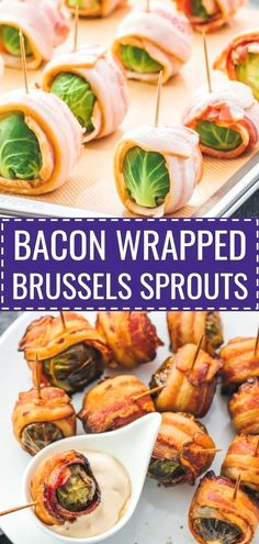 Bacon wrapped brussels sprouts with balsamic mayo dip. My favorite fall appetize. - Paleo EssenBacon wrapped brussels sprouts with balsamic mayo dip. My favorite fall appetizers -- roasted brussels sprouts wrapped with crispy bacon slices and dipp Low Carb Appetizers, Thanksgiving Appetizers, Appetizer Recipes, Appetizer Ideas, Bacon Wrapped Appetizers, Dairy Free Thanksgiving Recipes, Keto Thanksgiving Dinner, No Carb Snacks, Gluten Free Recipes For Kids