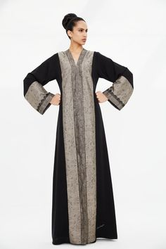 Arabesque signature classic cut abaya embellished with 2 tone lace motif jacquard silk with French Chantilly lace.