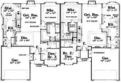 Multi-Family Plan 68715 - Ranch, Traditional Style Multi-Family Plan with 3055 Sq Ft, 4 Bed, 4 Bath, 2 Car Garage Duplex Floor Plans, Garage Floor Plans, House Floor Plans, Country House Plans, Best House Plans, Apartment Plans, House Blueprints, Earthship, New Builds