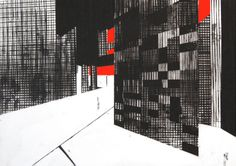 """Building 5, screenprint with hand coloring on mylar by Ryan Parker, 17 3/4 x 25"""""""