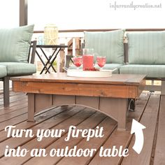 DIY Outdoor Furniture | Make a wood tabletop to sit on your fire pit when you're not using it. This allows it to double as an outdoor coffee table.