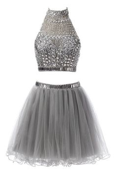 Ellames Short Two Pieces Homecoming Dress Halter Tulle Prom Dresses Grey US 6