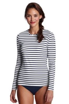 own this. Women's Stripe Crewneck Swim Tee Cover-up from Lands' End  Just bought this for summer!  I've been looking for something more modest at the pool.  :)
