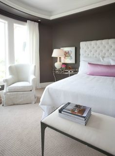 options: dark brown walls, white headboard, white bedding, light carpet, light end tables, POP of a girly color