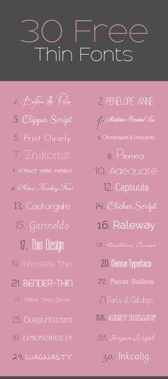 30 Free Thin Fonts