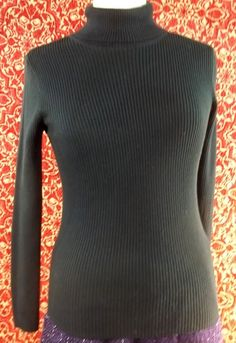 ERIKA & CO black cotton blend long sleeve turtleneck knit blouse S (T45-0DC7G) #ERIKACO #Turtleneck #Casual