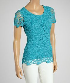 Turquoise Paisley Knit Cap-Sleeve Top