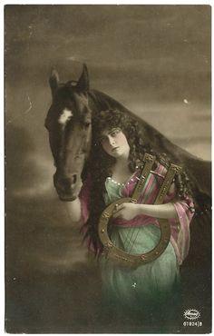 #Beautiful #Bohemian #Edwardian #Woman #Ukelele #Horse #rppc #Real #Photo #antique #postcard #evt #etsyvintageteam #ephemera by OakwoodView