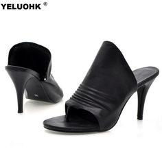 2017 New Leather Shoes Women Flip Flops Sexy High Heel Open Toe Ladies Low Heel Sandals Thin Heel Shoes Summer Slippers #Affiliate