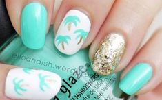 Easy palm tree nail art tutorial - Mollie Makes Nail Art Designs, Beach Nail Designs, Tree Designs, Beach Nail Art, Beach Nails, Cute Nails, My Nails, Aqua Nails, Beach Themed Nails